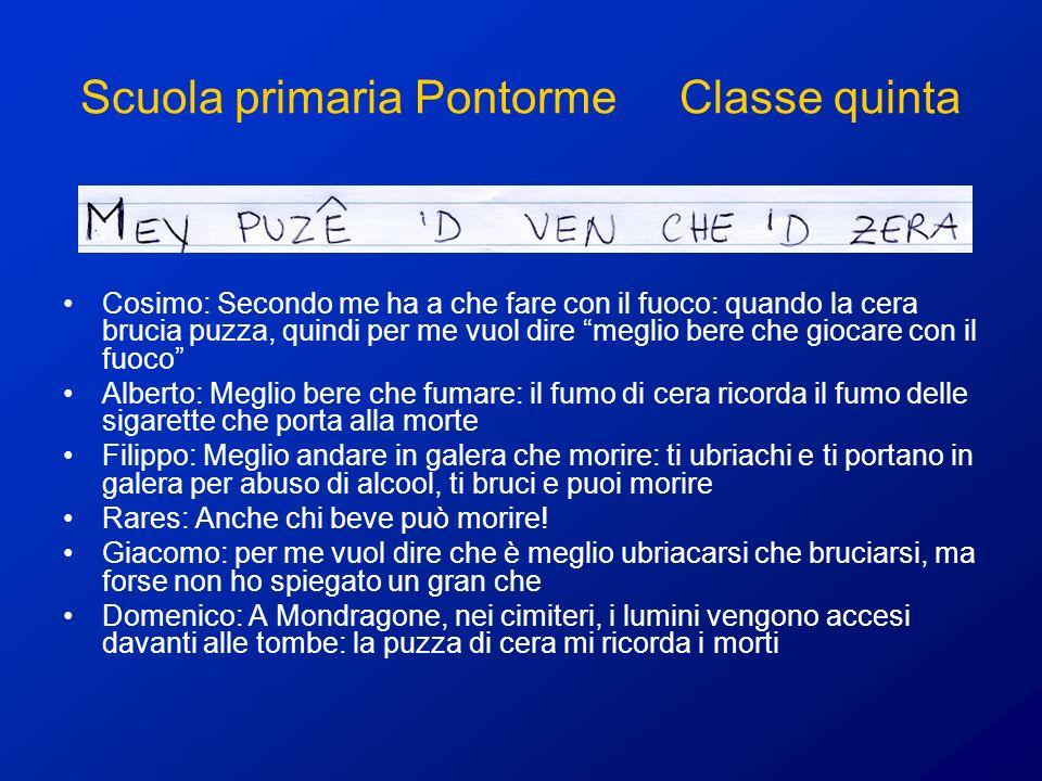 Scuola primaria Pontorme Classe quinta Cosimo: Secondo me ha a che fare con il fuoco: quando la cera brucia puzza, quindi per me vuol dire meglio bere