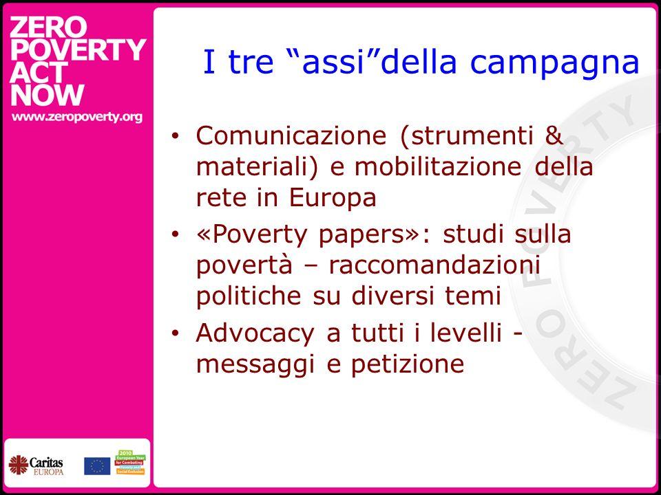I tre assidella campagna Comunicazione (strumenti & materiali) e mobilitazione della rete in Europa «Poverty papers»: studi sulla povertà – raccomandazioni politiche su diversi temi Advocacy a tutti i levelli - messaggi e petizione