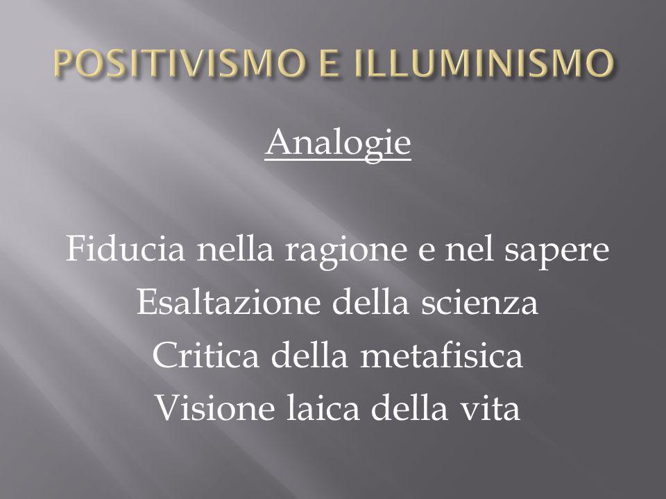 Analogie Fiducia nella ragione e nel sapere Esaltazione della scienza Critica della metafisica Visione laica della vita