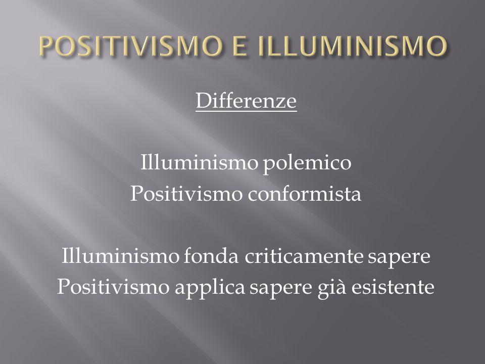 Differenze Illuminismo polemico Positivismo conformista Illuminismo fonda criticamente sapere Positivismo applica sapere già esistente