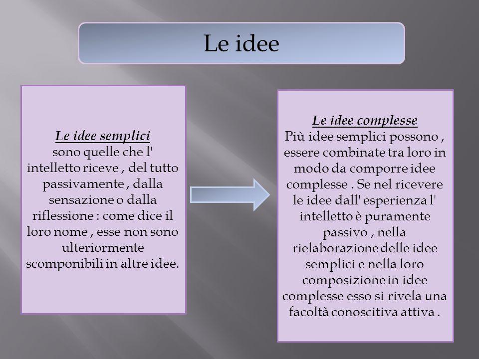 Le idee Le idee semplici sono quelle che l' intelletto riceve, del tutto passivamente, dalla sensazione o dalla riflessione : come dice il loro nome,
