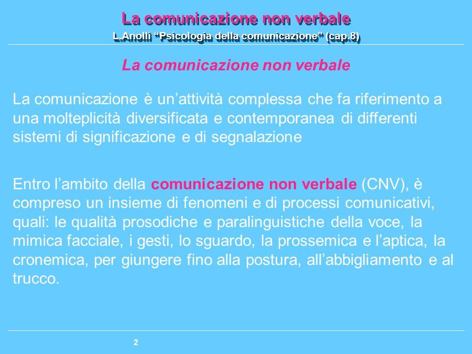 La comunicazione non verbale L.Anolli Psicologia della comunicazione (cap.8) La comunicazione non verbale L.Anolli Psicologia della comunicazione (cap.8) 3 La comunicazione non verbale: dove la natura incontra la cultura