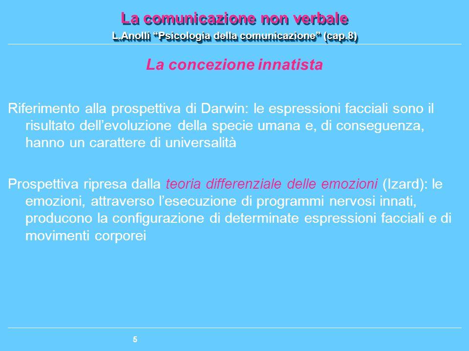 La comunicazione non verbale L.Anolli Psicologia della comunicazione (cap.8) La comunicazione non verbale L.Anolli Psicologia della comunicazione (cap.8) 16 Funzione denotativa vs.
