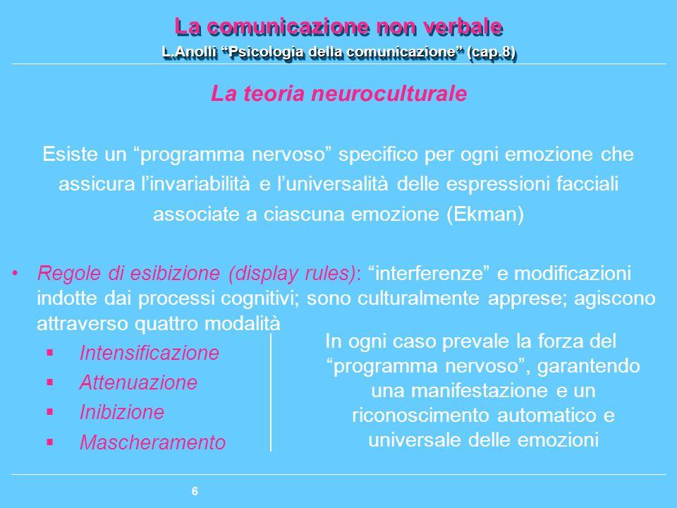La comunicazione non verbale L.Anolli Psicologia della comunicazione (cap.8) La comunicazione non verbale L.Anolli Psicologia della comunicazione (cap.8) 107 Le principali funzioni psicologiche della comunicazione non verbale 1.La manifestazione delle emozioni e dellintimità La CNV serve a esprimere le emozioni I sistemi della CNV presentano un certo grado di universalità: i movimenti sottesi ai segni non verbali sono governati da strutture e meccanismi neurobiologici geneticamente definiti Un certo grado di variabilità: differenze di cultura, di personalità e di contesto