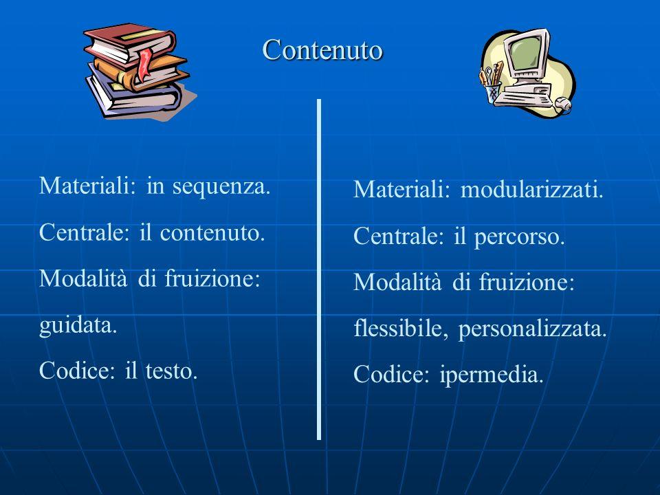 Contenuto Materiali: in sequenza. Centrale: il contenuto. Modalità di fruizione: guidata. Codice: il testo. Materiali: modularizzati. Centrale: il per