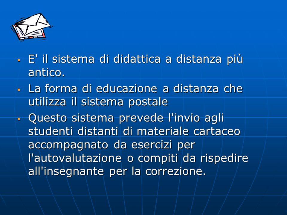 L interazione studente-insegnante L interazione studente-insegnante è quasi nulla In alcuni casi sono stati ideati programmi didattici radio o tele-diffusi di supporto ai testi scritti o alle lezioni in presenza.