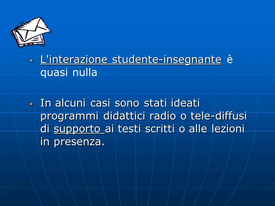 L'interazione studente-insegnante L'interazione studente-insegnante è quasi nulla In alcuni casi sono stati ideati programmi didattici radio o tele-di