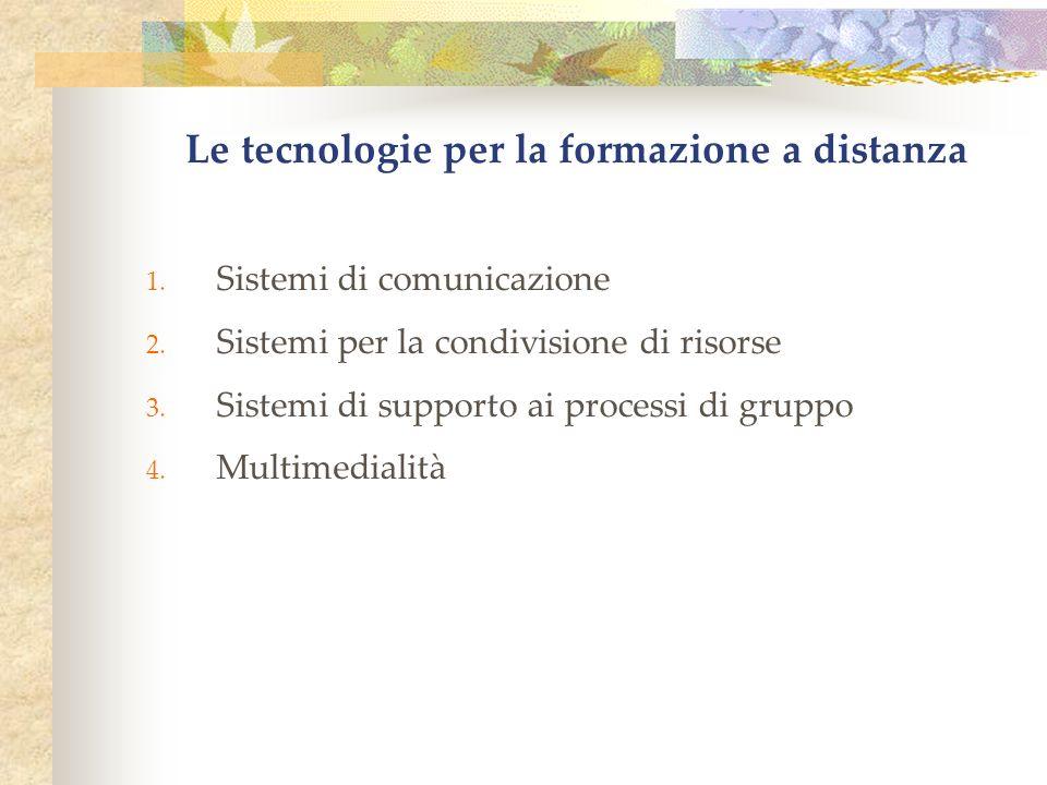 Le tecnologie per la formazione a distanza 1. Sistemi di comunicazione 2.