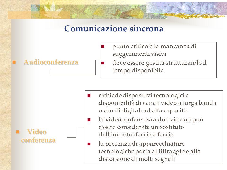 Comunicazione sincrona Audioconferenza Audioconferenza Video Video conferenza conferenza richiede dispositivi tecnologici e disponibilità di canali video a larga banda o canali digitali ad alta capacità.