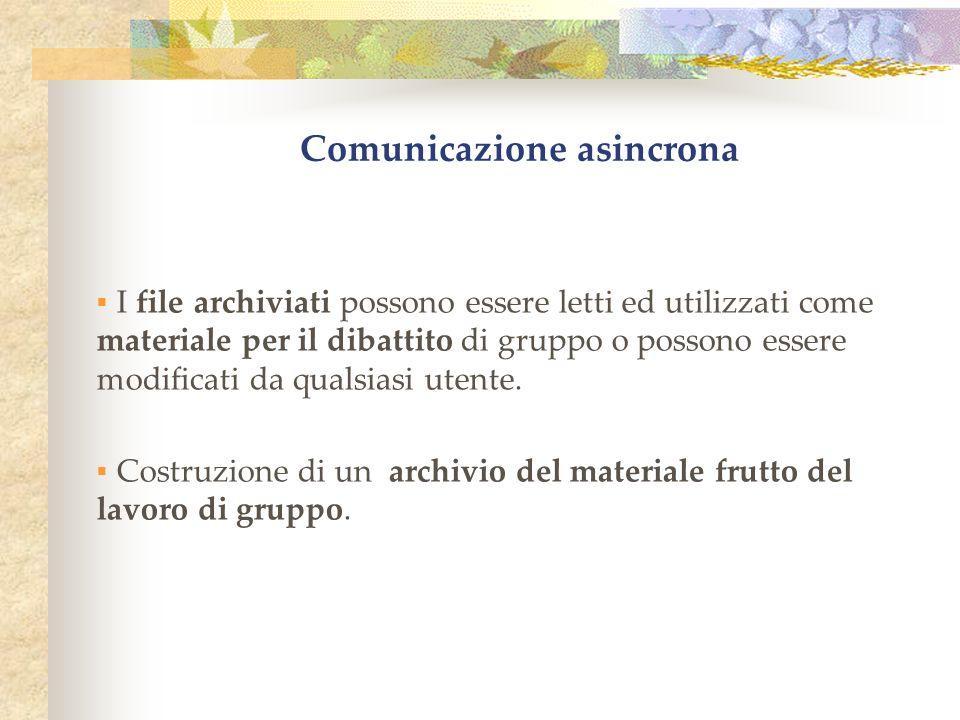 Comunicazione asincrona I file archiviati possono essere letti ed utilizzati come materiale per il dibattito di gruppo o possono essere modificati da qualsiasi utente.