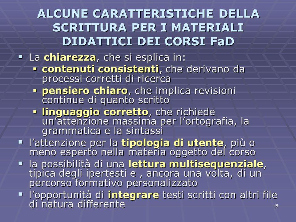 15 ALCUNE CARATTERISTICHE DELLA SCRITTURA PER I MATERIALI DIDATTICI DEI CORSI FaD La chiarezza, che si esplica in: La chiarezza, che si esplica in: co