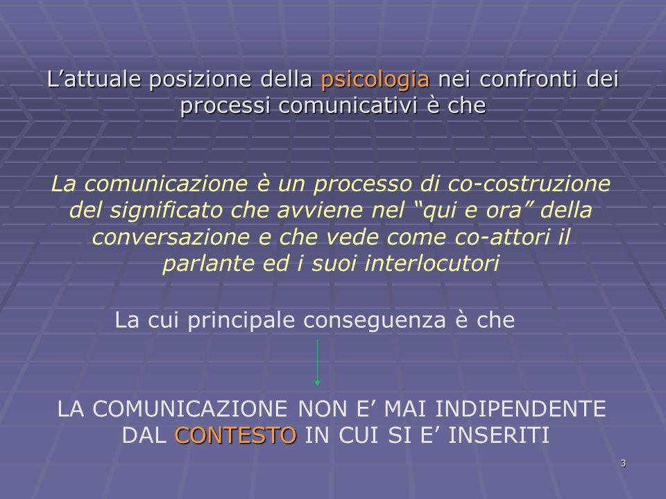 3 Lattuale posizione della psicologia nei confronti dei processi comunicativi è che La comunicazione è un processo di co-costruzione del significato c