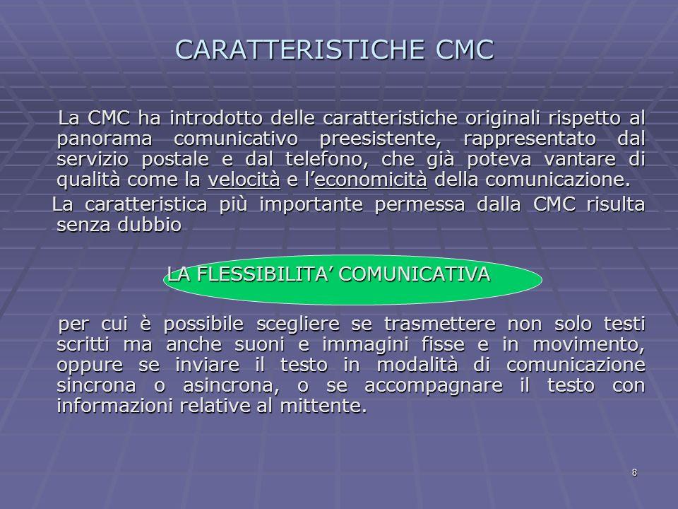8 CARATTERISTICHE CMC La CMC ha introdotto delle caratteristiche originali rispetto al panorama comunicativo preesistente, rappresentato dal servizio