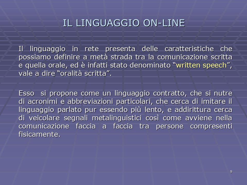 9 IL LINGUAGGIO ON-LINE Il linguaggio in rete presenta delle caratteristiche che possiamo definire a metà strada tra la comunicazione scritta e quella