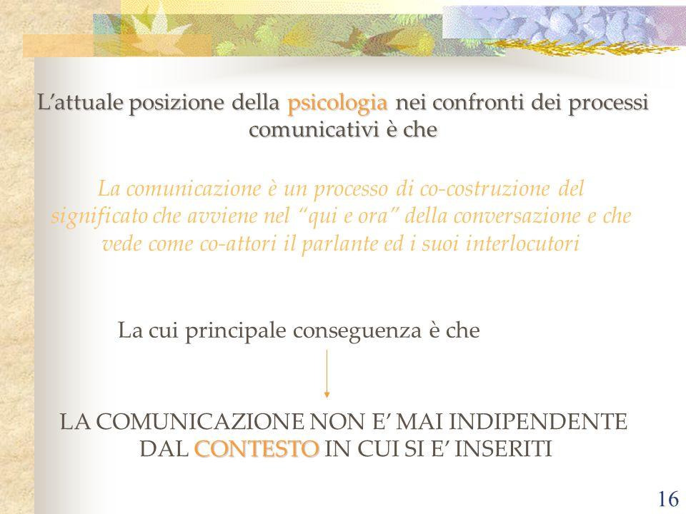 16 Lattuale posizione della psicologia nei confronti dei processi comunicativi è che La comunicazione è un processo di co-costruzione del significato