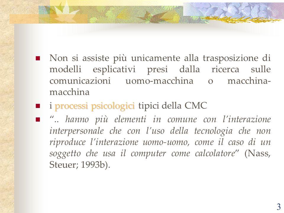 3 Non si assiste più unicamente alla trasposizione di modelli esplicativi presi dalla ricerca sulle comunicazioni uomo-macchina o macchina- macchina processi psicologici i processi psicologici tipici della CMC..