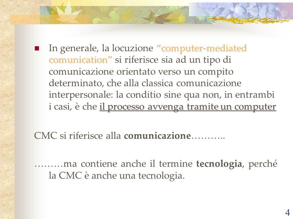 4 computer-mediated comunication il processo avvenga tramite un computer In generale, la locuzione computer-mediated comunication si riferisce sia ad