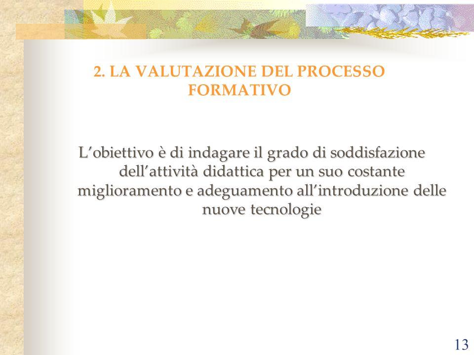 13 2. LA VALUTAZIONE DEL PROCESSO FORMATIVO Lobiettivo è di indagare il grado di soddisfazione dellattività didattica per un suo costante migliorament