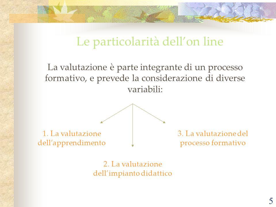 5 Le particolarità dellon line La valutazione è parte integrante di un processo formativo, e prevede la considerazione di diverse variabili: 1. La val