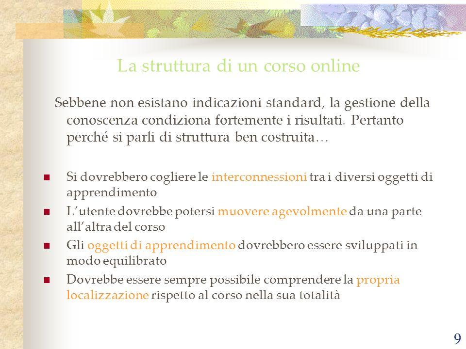 9 La struttura di un corso online Sebbene non esistano indicazioni standard, la gestione della conoscenza condiziona fortemente i risultati.