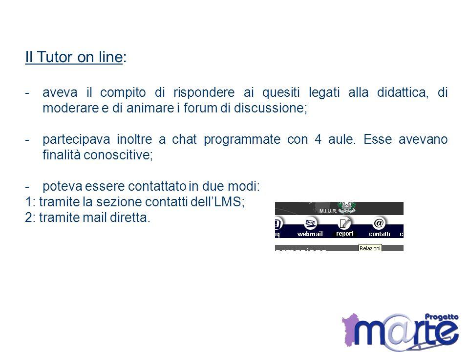 Il Tutor on line: -aveva il compito di rispondere ai quesiti legati alla didattica, di moderare e di animare i forum di discussione; -partecipava inol
