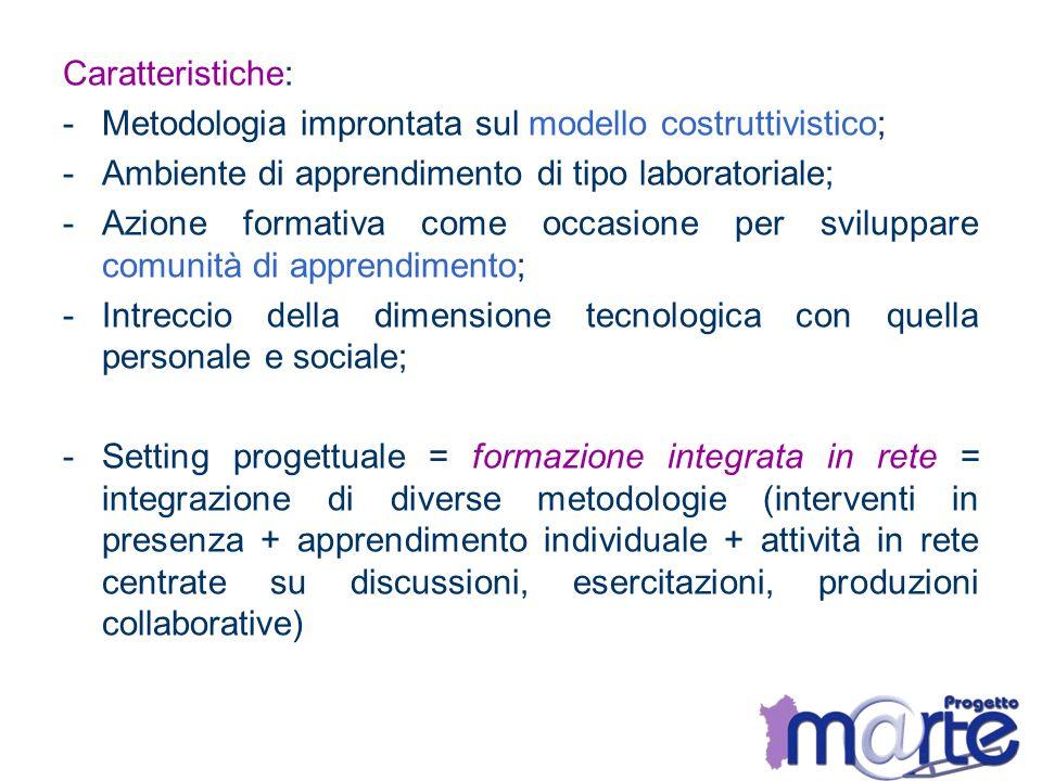 Caratteristiche: -Metodologia improntata sul modello costruttivistico; -Ambiente di apprendimento di tipo laboratoriale; -Azione formativa come occasi