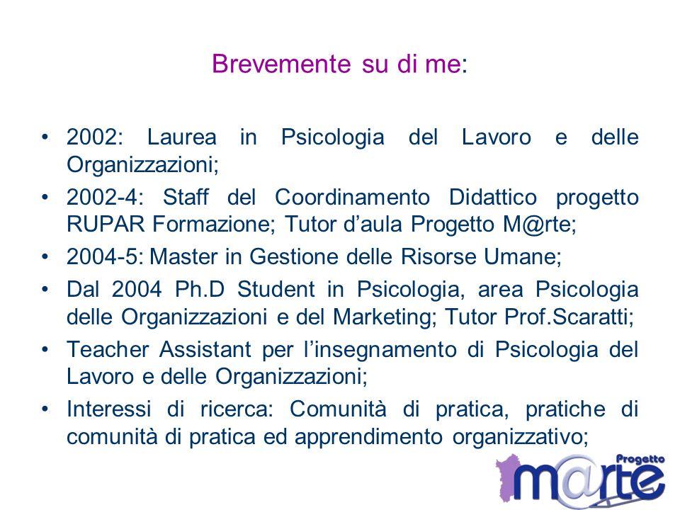 Brevemente su di me: 2002: Laurea in Psicologia del Lavoro e delle Organizzazioni; 2002-4: Staff del Coordinamento Didattico progetto RUPAR Formazione