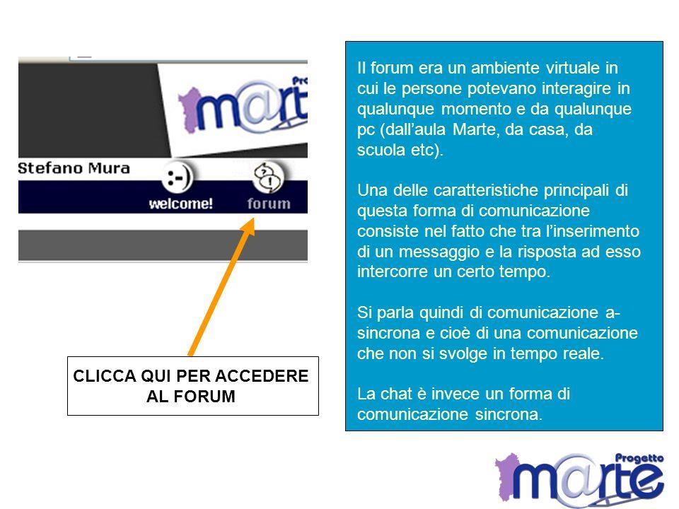 CLICCA QUI PER ACCEDERE AL FORUM Il forum era un ambiente virtuale in cui le persone potevano interagire in qualunque momento e da qualunque pc (dalla