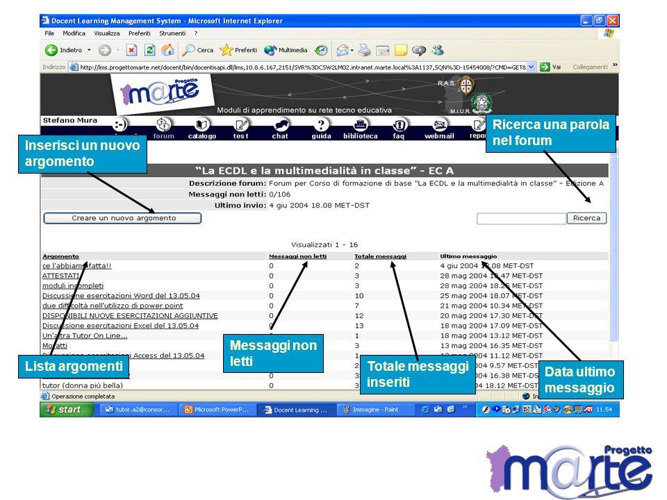 Lista argomenti Messaggi non letti Totale messaggi inseriti Data ultimo messaggio Ricerca una parola nel forum Inserisci un nuovo argomento