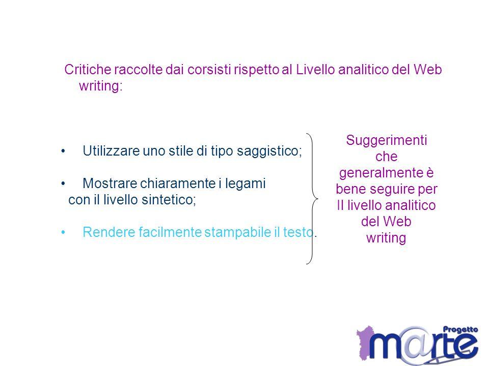 Critiche raccolte dai corsisti rispetto al Livello analitico del Web writing: Utilizzare uno stile di tipo saggistico; Mostrare chiaramente i legami c