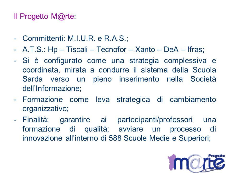 Il Progetto M@rte: -Committenti: M.I.U.R. e R.A.S.; -A.T.S.: Hp – Tiscali – Tecnofor – Xanto – DeA – Ifras; -Si è configurato come una strategia compl