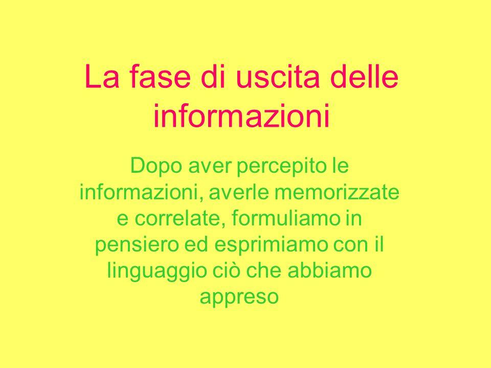 La fase di uscita delle informazioni Dopo aver percepito le informazioni, averle memorizzate e correlate, formuliamo in pensiero ed esprimiamo con il linguaggio ciò che abbiamo appreso