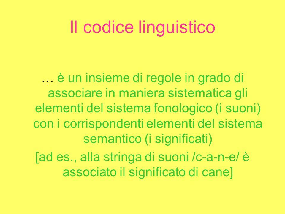 Il codice linguistico … è un insieme di regole in grado di associare in maniera sistematica gli elementi del sistema fonologico (i suoni) con i corrispondenti elementi del sistema semantico (i significati) [ad es., alla stringa di suoni /c-a-n-e/ è associato il significato di cane]