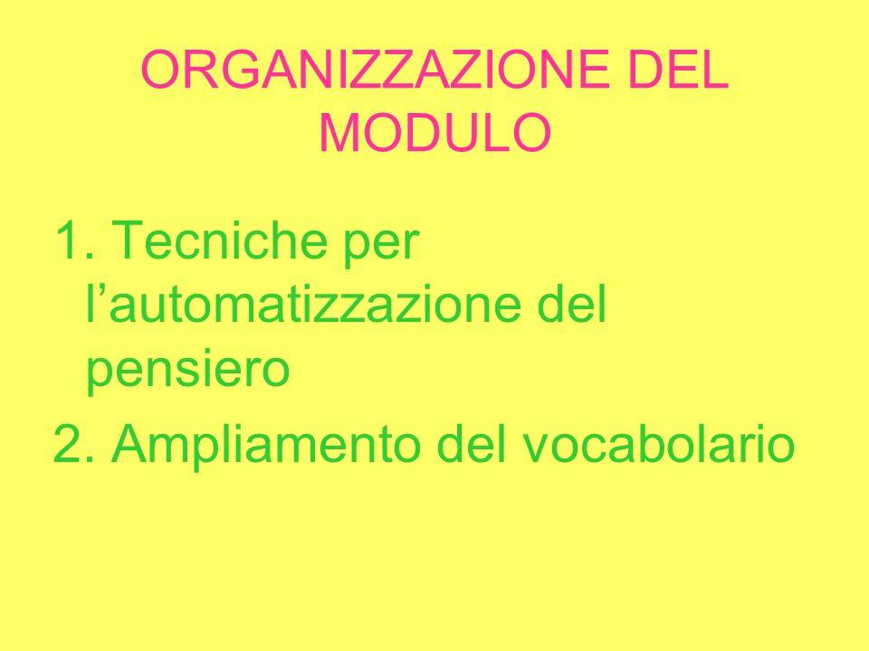 ORGANIZZAZIONE DEL MODULO 1. Tecniche per lautomatizzazione del pensiero 2.