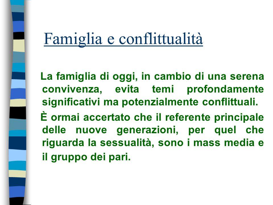 Famiglia e conflittualità La famiglia di oggi, in cambio di una serena convivenza, evita temi profondamente significativi ma potenzialmente conflittua