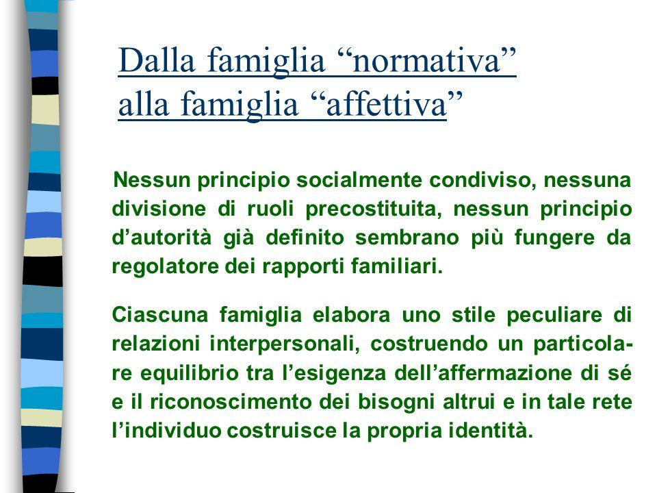 Dalla famiglia normativa alla famiglia affettiva Nessun principio socialmente condiviso, nessuna divisione di ruoli precostituita, nessun principio da