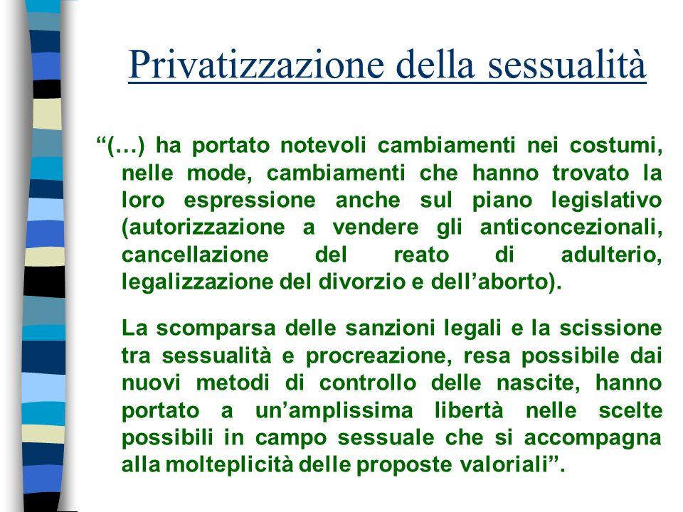Privatizzazione della sessualità (…) ha portato notevoli cambiamenti nei costumi, nelle mode, cambiamenti che hanno trovato la loro espressione anche