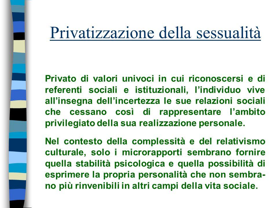 Privatizzazione della sessualità Privato di valori univoci in cui riconoscersi e di referenti sociali e istituzionali, lindividuo vive allinsegna dell