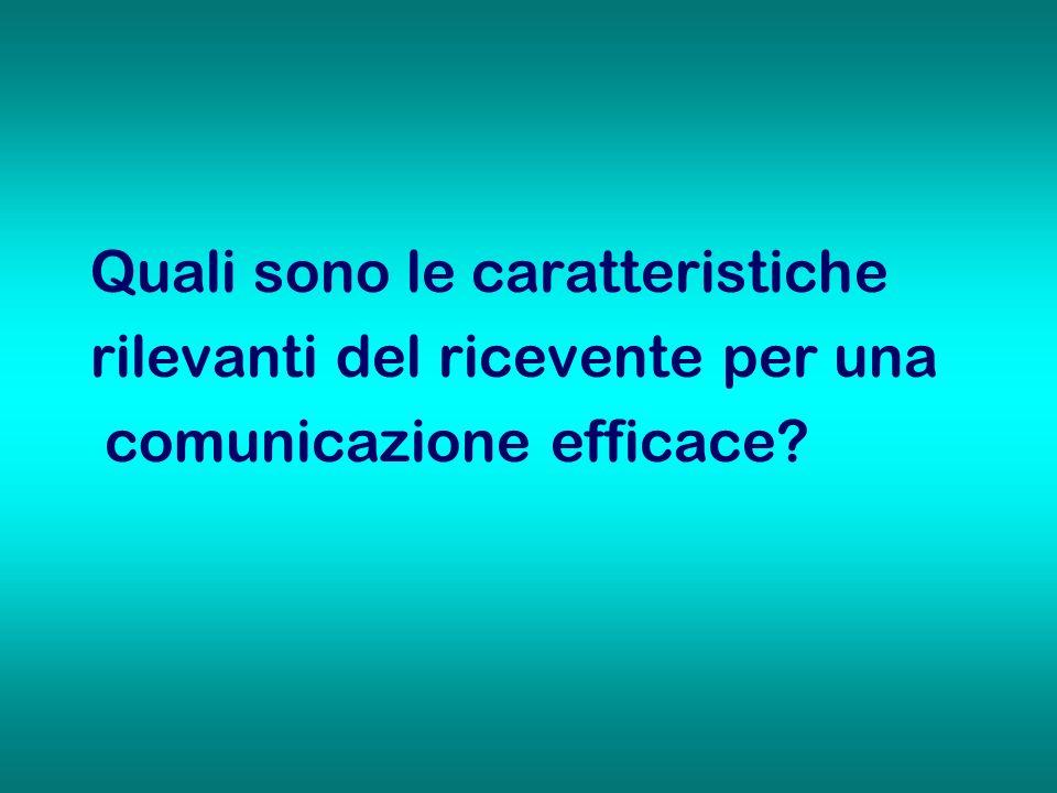 Quali sono le caratteristiche rilevanti del ricevente per una comunicazione efficace?