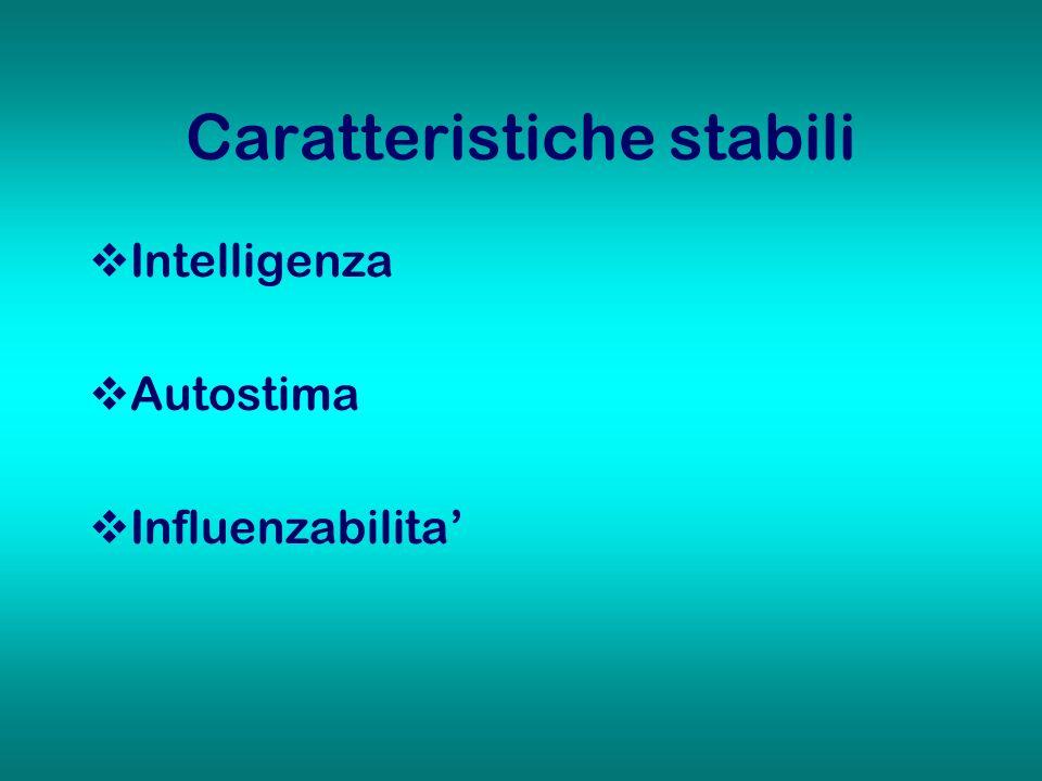 Caratteristiche stabili Intelligenza Autostima Influenzabilita
