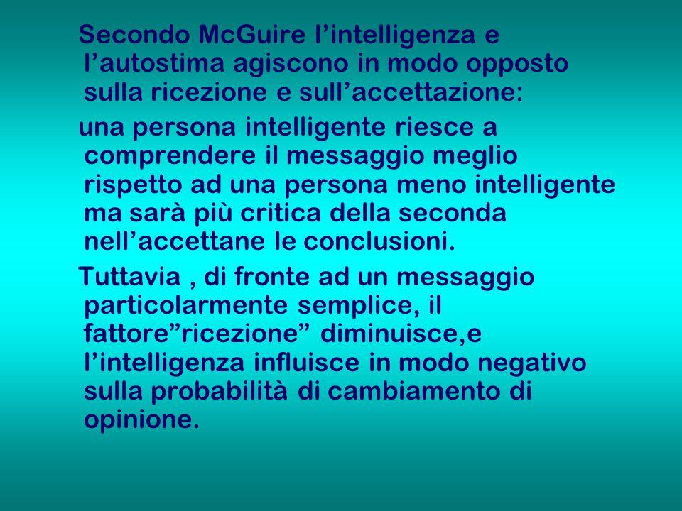 Secondo McGuire lintelligenza e lautostima agiscono in modo opposto sulla ricezione e sullaccettazione: una persona intelligente riesce a comprendere