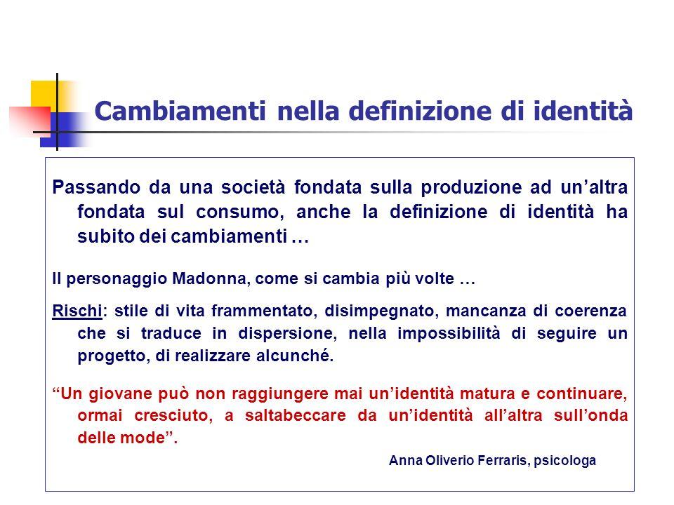 Cambiamenti nella definizione di identità Passando da una società fondata sulla produzione ad unaltra fondata sul consumo, anche la definizione di ide