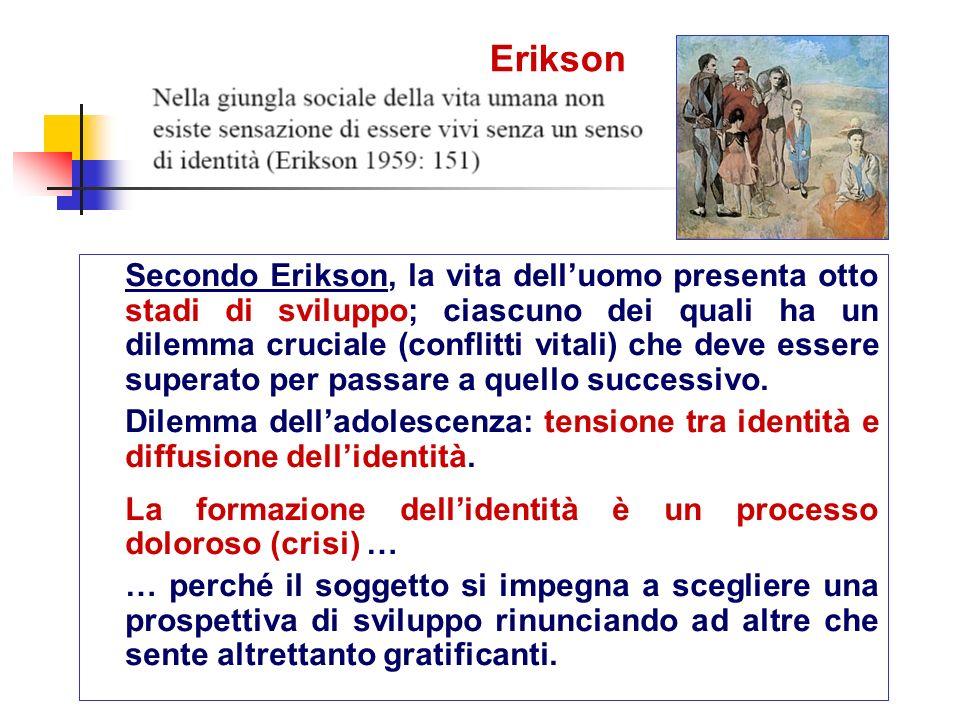 Erikson Secondo Erikson, la vita delluomo presenta otto stadi di sviluppo; ciascuno dei quali ha un dilemma cruciale (conflitti vitali) che deve esser