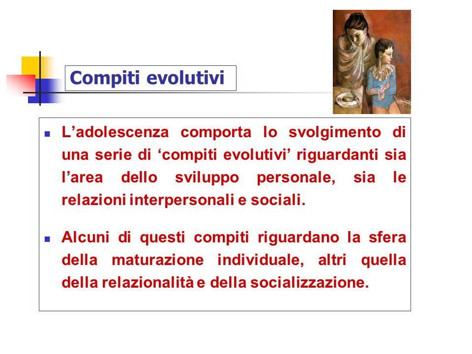 Compiti evolutivi Ladolescenza comporta lo svolgimento di una serie di compiti evolutivi riguardanti sia larea dello sviluppo personale, sia le relazi