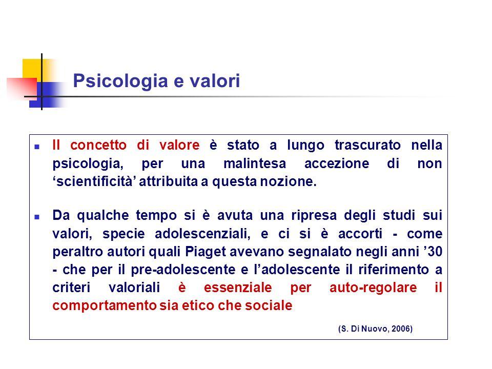 Psicologia e valori Il concetto di valore è stato a lungo trascurato nella psicologia, per una malintesa accezione di non scientificità attribuita a q