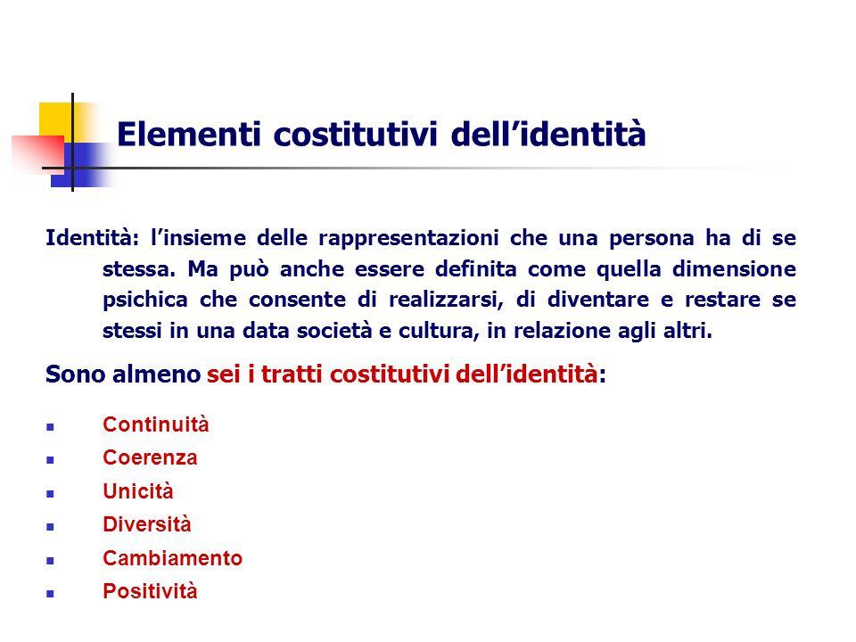 Elementi costitutivi dellidentità Identità: linsieme delle rappresentazioni che una persona ha di se stessa. Ma può anche essere definita come quella