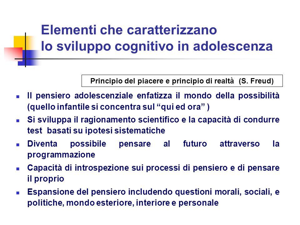 Elementi che caratterizzano lo sviluppo cognitivo in adolescenza Il pensiero adolescenziale enfatizza il mondo della possibilità (quello infantile si