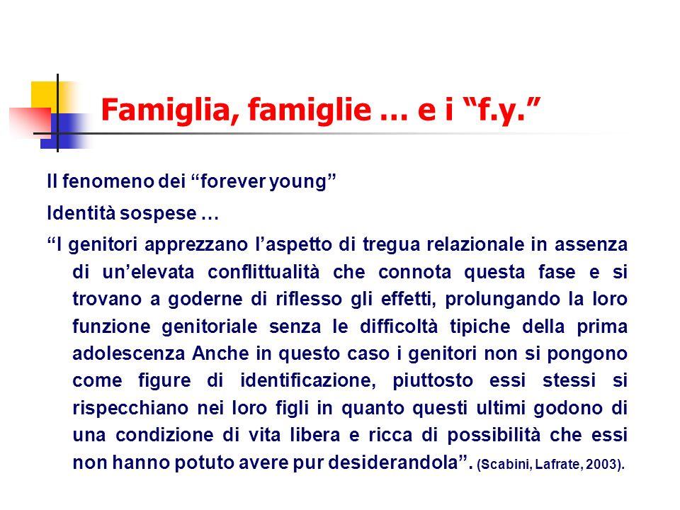 Famiglia, famiglie … e i f.y. Il fenomeno dei forever young Identità sospese … I genitori apprezzano laspetto di tregua relazionale in assenza di unel