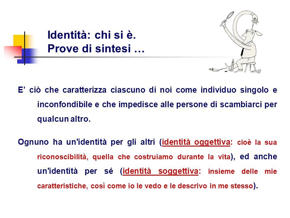 Identità: chi si è. Prove di sintesi … E ciò che caratterizza ciascuno di noi come individuo singolo e inconfondibile e che impedisce alle persone di