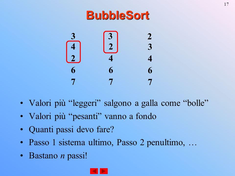 17BubbleSort Valori più leggeri salgono a galla come bolle Valori più pesanti vanno a fondo Quanti passi devo fare.